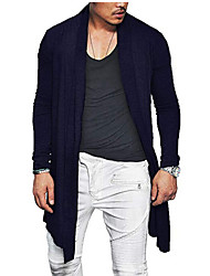 cheap -Men's Daily Long Trench Coat, Solid Colored Collarless Long Sleeve Polyester Black / Wine / Navy Blue US32 / UK32 / EU40 / US34 / UK34 / EU42 / US36 / UK36 / EU44