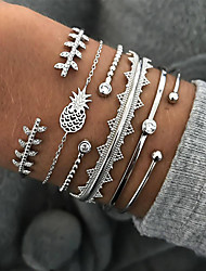 cheap -6pcs Women's Bracelet Bangles Cuff Bracelet Vintage Bracelet Layered Leaf Pineapple Vintage Trendy Ethnic Fashion Boho Imitation Diamond Bracelet Jewelry Silver For Daily School Street Holiday