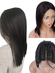 cheap -Remy Human Hair 4x4 Closure Lace Front Wig Bob Middle Part style Brazilian Hair Straight Wig 130% 150% 180% Density Party Women New New Arrival Hot Sale Women's Short Natural Color Hair Weaves / Hair