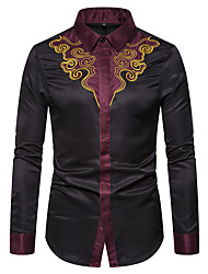cheap -Men's Party Halloween Rock / Street chic Shirt - Geometric / Graphic Black & Red, Print Black