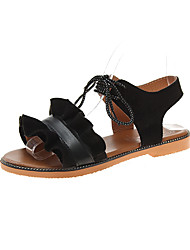 cheap -Women's Sandals Flat Heel Suede Casual Summer Black / Pink / Beige