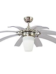 Недорогие -Светодиодный потолочный вентилятор ecolight ™ / современная лампа на потолке, никелированное стекло для столовой спальни 110-120 В / 220-240 В в комплекте с лампой / встроенный светодиод