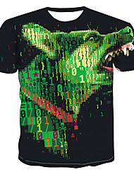 cheap -Men's Daily Going out Basic / Exaggerated T-shirt - Color Block / 3D / Animal Dog, Print Black