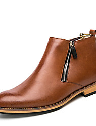 cheap -Men's Bullock Shoes Leather Spring & Summer / Fall & Winter Casual / British Boots Wear Proof Mid-Calf Boots Black / Brown / Gray