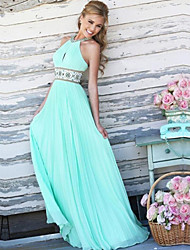 cheap -Women's Boho Elegant Maxi Slim Swing Dress - Solid Colored Backless Embroidered Patchwork Halter Neck White Blushing Pink Light Blue S M L XL