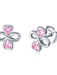 cheap -Women's Pink Red AAA Cubic Zirconia Stud Earrings Classic Clover Stylish Artistic Luxury Fashion Elegant S925 Sterling Silver Earrings Jewelry Silver For Christmas Gift Daily Work Festival 1 Pair