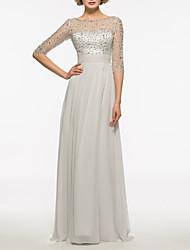 cheap -Sheath / Column Bateau Neck Sweep / Brush Train Chiffon Half Sleeve Elegant & Luxurious Mother of the Bride Dress with Crystals 2020