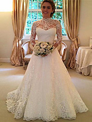 cheap -A-Line High Neck Sweep / Brush Train Lace 3/4 Length Sleeve Lace / Illusion Sleeve Wedding Dresses with 2020