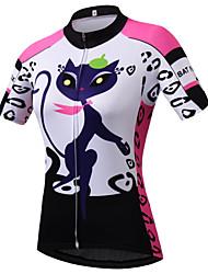 cheap -21Grams Cat Cartoon Women's Short Sleeve Cycling Jersey - Pink Bike Jersey Top Breathable Moisture Wicking Quick Dry Sports Terylene Mountain Bike MTB Clothing Apparel / Micro-elastic / Back Pocket