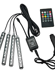 cheap -4Pcs Car Atmosphere Lamp Remote Control RGB LED Strip Lights Fashion Auto Interior Decoration