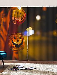 abordables -décoration à la maison 3d numérique impression rideaux thème halloween l'homme avec le chandelier halloween tige personnalisée définie rideau