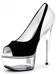 cheap -Women's Heels Plus Size Cone Heel Peep Toe Minimalism Party & Evening Crystal Color Block Solid Colored Microfiber PU Summer Black / White / Clear / White