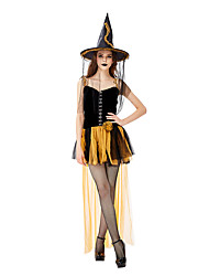 cheap -Witch Cosplay Costume Masquerade Adults' Women's Cosplay Halloween Halloween Festival / Holiday Tulle Plush Fabric Black / Blue Women's Carnival Costumes