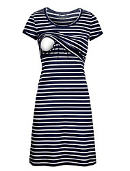 cheap -Mommy and Me Striped Short Sleeve Knee-length Dress Navy Blue