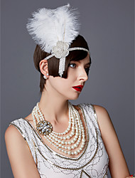 cheap -The Great Gatsby Charleston Vintage 1920s Roaring Twenties Flapper Headband Women's Feather Costume Head Jewelry Black / White Vintage Cosplay Party Prom