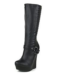 cheap -Women's Boots Knee High Boots Wedge Heel Round Toe PU Knee High Boots Fall & Winter Black