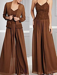 cheap -Pantsuit / Jumpsuit Spaghetti Strap Floor Length Chiffon Long Sleeve Wrap Included Mother of the Bride Dress with Pleats 2020