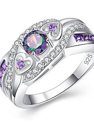 cheap -Women's Ring 1pc Purple Copper Circular Basic Korean Fashion Festival Jewelry Sweet Heart Heart
