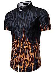 cheap -Men's Daily Shirt - Geometric Black / Short Sleeve