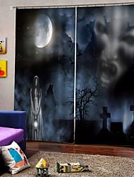 abordables -Fantôme d'horreur de la promotion dans la nuit sombre de luxe hallowmas thème rideau de la fenêtre 100% polyester rideau occultant tissu pour hallowmas décor