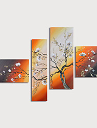 cheap -Oil Painting Hand Painted Floral / Botanical Modern Stretched Canvas / Four Panels With Stretched Frame