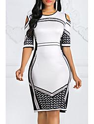 cheap -Women's Basic Sheath Dress - Solid Colored White Blushing Pink XXXL XXXXL XXXXXL