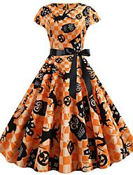 cheap -Women's Halloween Basic A Line Dress - Color Block Print Yellow S M L XL