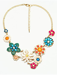 cheap -Women's Collar Necklace Flower Statement Classic Acrylic Chrome Rainbow 42 cm Necklace Jewelry 1pc For Festival
