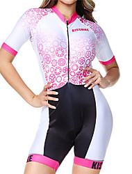 cheap -BOESTALK Women's Short Sleeve Triathlon Tri Suit Pink+White Stripes Gear Bike Breathable Moisture Wicking Quick Dry Anatomic Design Back Pocket Sports Spandex Stripes Mountain Bike MTB Road Bike