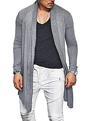 cheap -Men's Solid Colored Long Sleeve EU / US Size Cardigan Sweater Jumper, Off Shoulder Black / Navy Blue / Gray US36 / UK36 / EU44 / US38 / UK38 / EU46 / US40 / UK40 / EU48