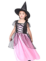 cheap -Witch Dress Hat Outfits Halloween Props Masquerade Kid's Girls' Halloween Halloween Festival / Holiday Spandex Polyester / Polyamide Black Carnival Costumes