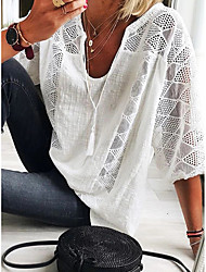 cheap -Women's School Date Elegant T-shirt - Solid Colored Lace / Lace Trims V Neck White/StayCation