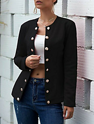 Недорогие -Жен. Повседневные Классический Обычная Куртка, Однотонный Круглый вырез Длинный рукав Полиэстер Красный / Темно синий / Винный