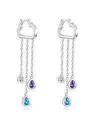 cheap -925 Sterling Silver Long Chain Dangle Earrings for Women Cloud and Rainy Zirconia Hanging Earing Korean Jewelry