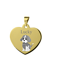 cheap -Personalized Customized Beagle Dog Tags Classic Gift Daily Heart Shape 1pcs Silver Blushing Pink Yellow / Laser Engraving