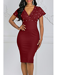cheap -Women's Bodycon Dress - Short Sleeve Solid Colored Polka Dots Deep V Stylish Party Wine White Black Blushing Pink S M L XL XXL XXXL
