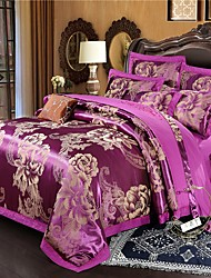 cheap -Duvet Cover Sets Floral / Botanical Cotton Jacquard / Embroidery 4 PieceBedding Sets