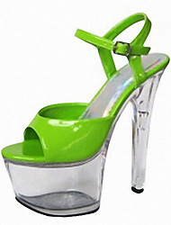 cheap -Women's Sandals Cone Heel Peep Toe Crystal / Buckle PU Classic / Minimalism Summer Black / Green / Light Blue / Party & Evening