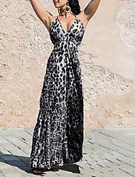 cheap -Women's Plus Size Basic Maxi Sheath Dress - Leopard Fashion Print Strappy Strap Spring Gray Light Brown XXXL XXXXL XXXXXL