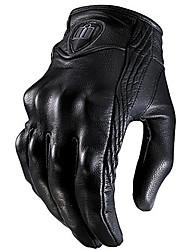 abordables -1 paire de gants en cuir noir à vélo moto moto armure de protection maille gants de course solides