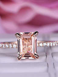 cheap -Women's Ring 1pc Rose Gold Imitation Diamond Alloy Rectangle Trendy Korean Fashion Daily Jewelry Classic Lucky