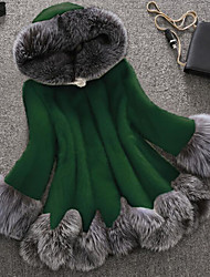 abordables -Femme Soirée / Travail Chic de Rue / Sophistiqué Hiver Grandes Tailles Normal Manteau de fausse fourrure, Couleur Pleine / Bloc de Couleur Capuche Manches Longues Fausse Fourrure Mosaïque Vert / Noir