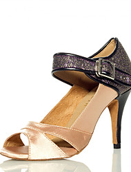 cheap -Women's Latin Shoes Heel Glitter Splicing Slim High Heel Nude Ankle Strap Sparkling Shoes