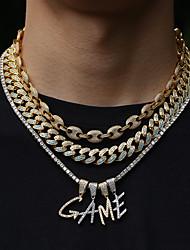 cheap -Men's Women's AAA Cubic Zirconia Pendant Necklace Chain Necklace Long Alphabet Shape Luxury European Trendy Rock Stainless Steel Zircon Copper Gold Silver 60 cm Necklace Jewelry 1pc For Street