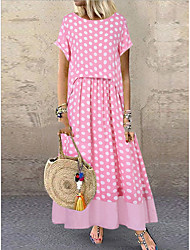 cheap -Women's Maxi Blushing Pink Green Dress Sheath Polka Dot M L Slim
