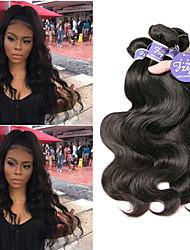 cheap -3 Bundles Brazilian Hair Body Wave Virgin Human Hair Unprocessed Human Hair Natural Color Hair Weaves / Hair Bulk Extension Bundle Hair 8-28 inch Natural Color Human Hair Weaves Newborn Odor Free