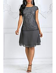 Недорогие -Жен. Большие размеры Кружева Оболочка Платье - Однотонный, Кружева До колена