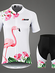 cheap -21Grams Women's Short Sleeve Cycling Jersey with Shorts White Flamingo Floral Botanical Bike Clothing Suit Mountain Bike MTB Road Bike Cycling Breathable 3D Pad Moisture Wicking Sports 100% Polyester
