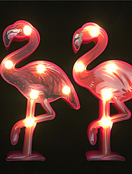 cheap -2PCS Creative 3D Flamingo Shape Led Night Lamp AA Battery Power Home Decoration Lighting Kids Gift Led (come without battery)