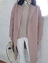 cheap -Women's Daily Winter Maxi Coat, Solid Colored Shawl Lapel Long Sleeve Polyester Blushing Pink